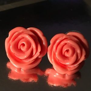 Pink peach rose carved earrings Betsey Johnson